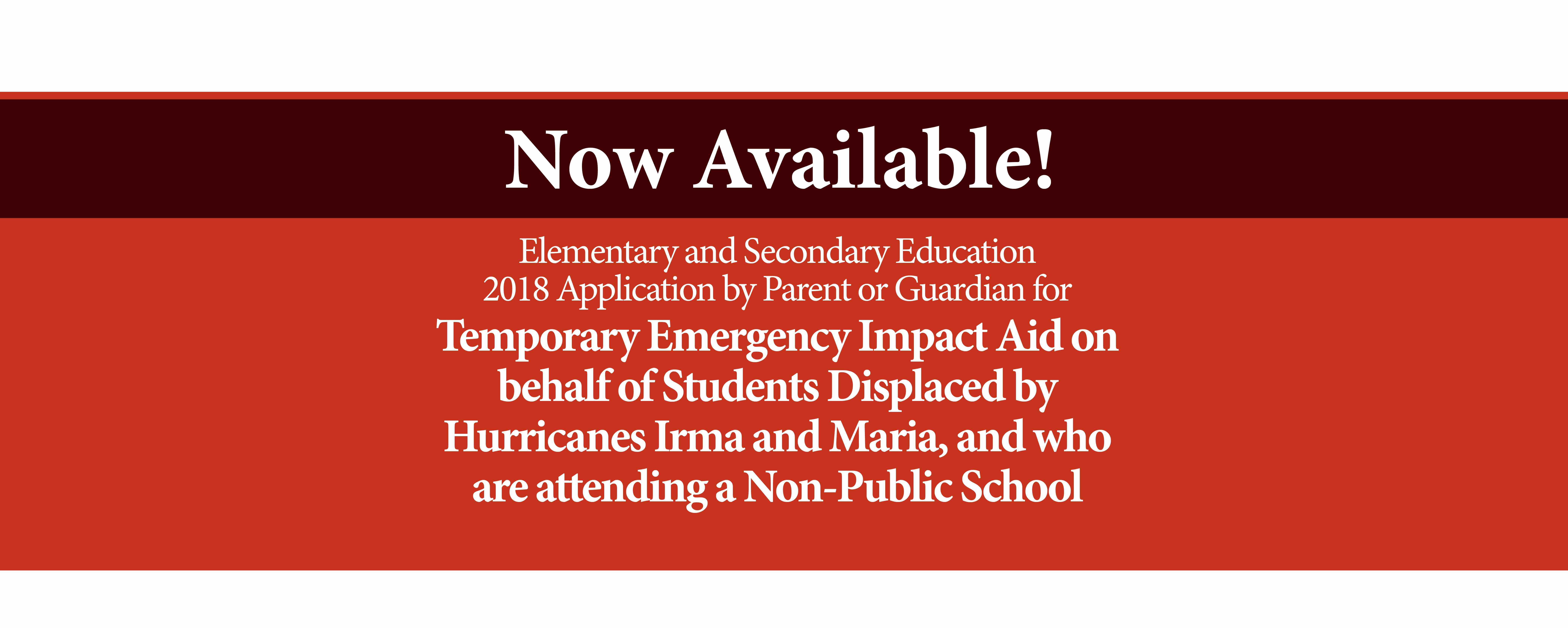 Emergency Aid Application for Non-Public Schools