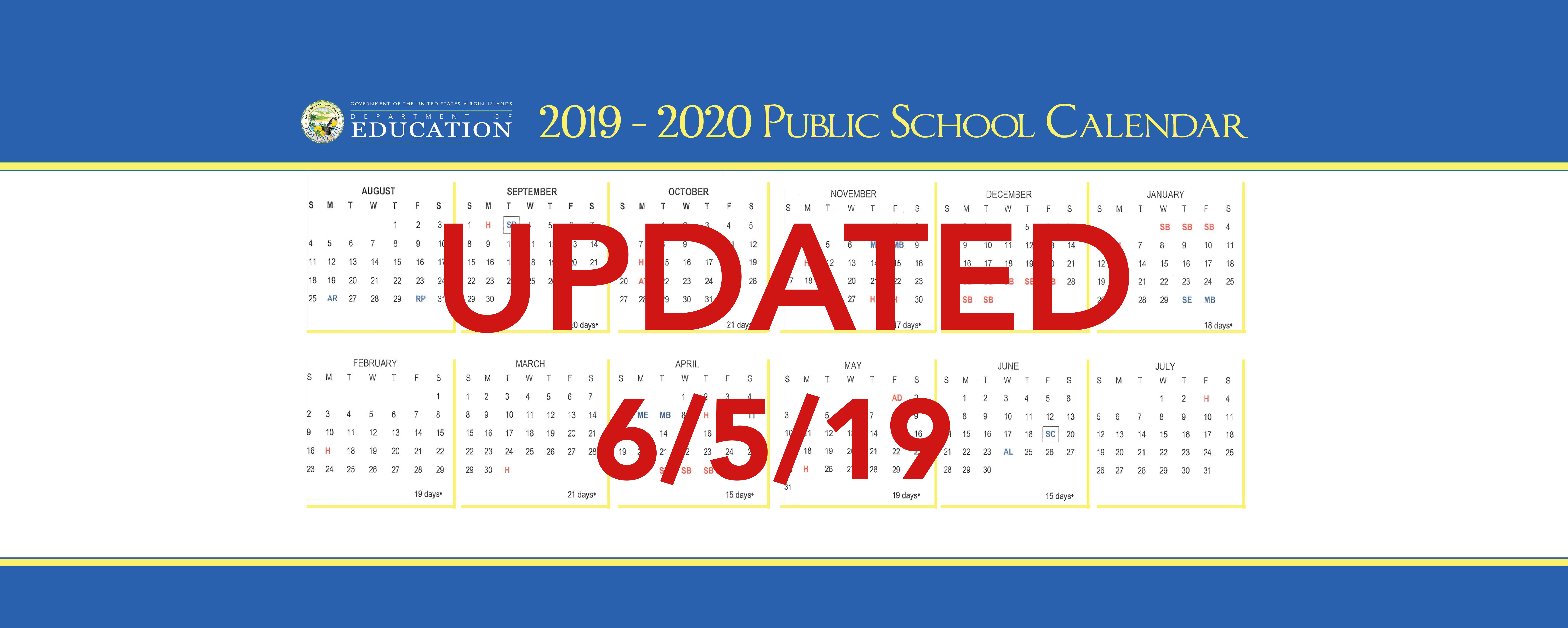 2019-2020 Public School Calendar Announced
