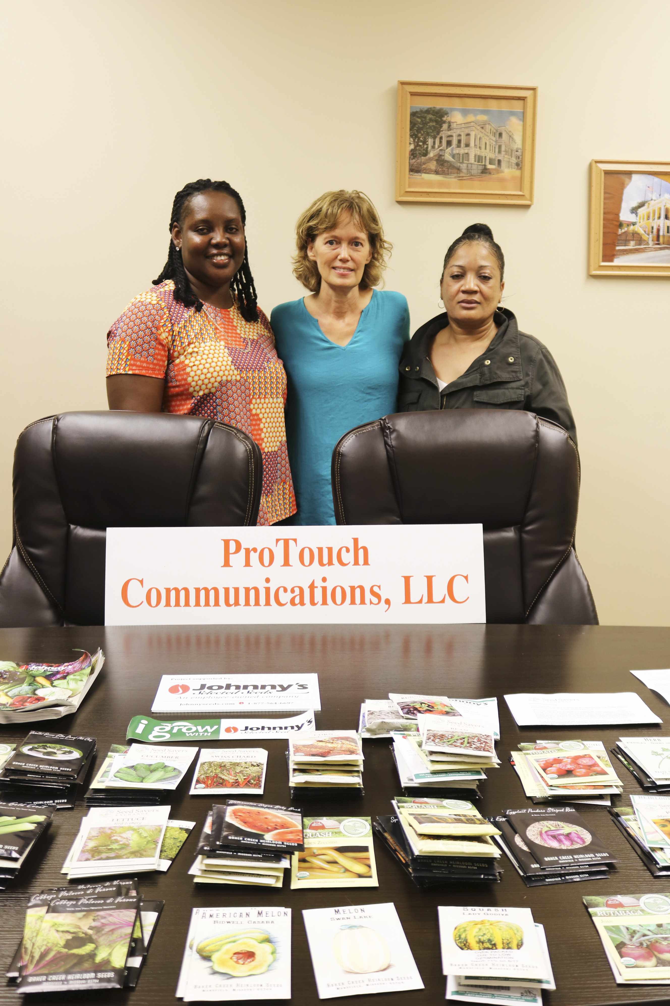 Department of Education Director of Agriculture Velda Hendricks with Tracy Butler and Karen Jones of ProTouch Communications, LLC of.JPG