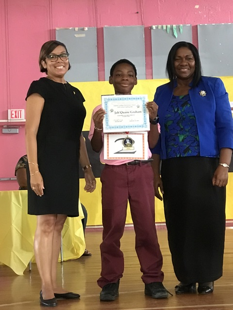 Gardine's 2018 Spelling Bee Champion JahQuane Graham with Principal Barbara McGregor and Asst. Princpal Anna Marie Gordon.JPG