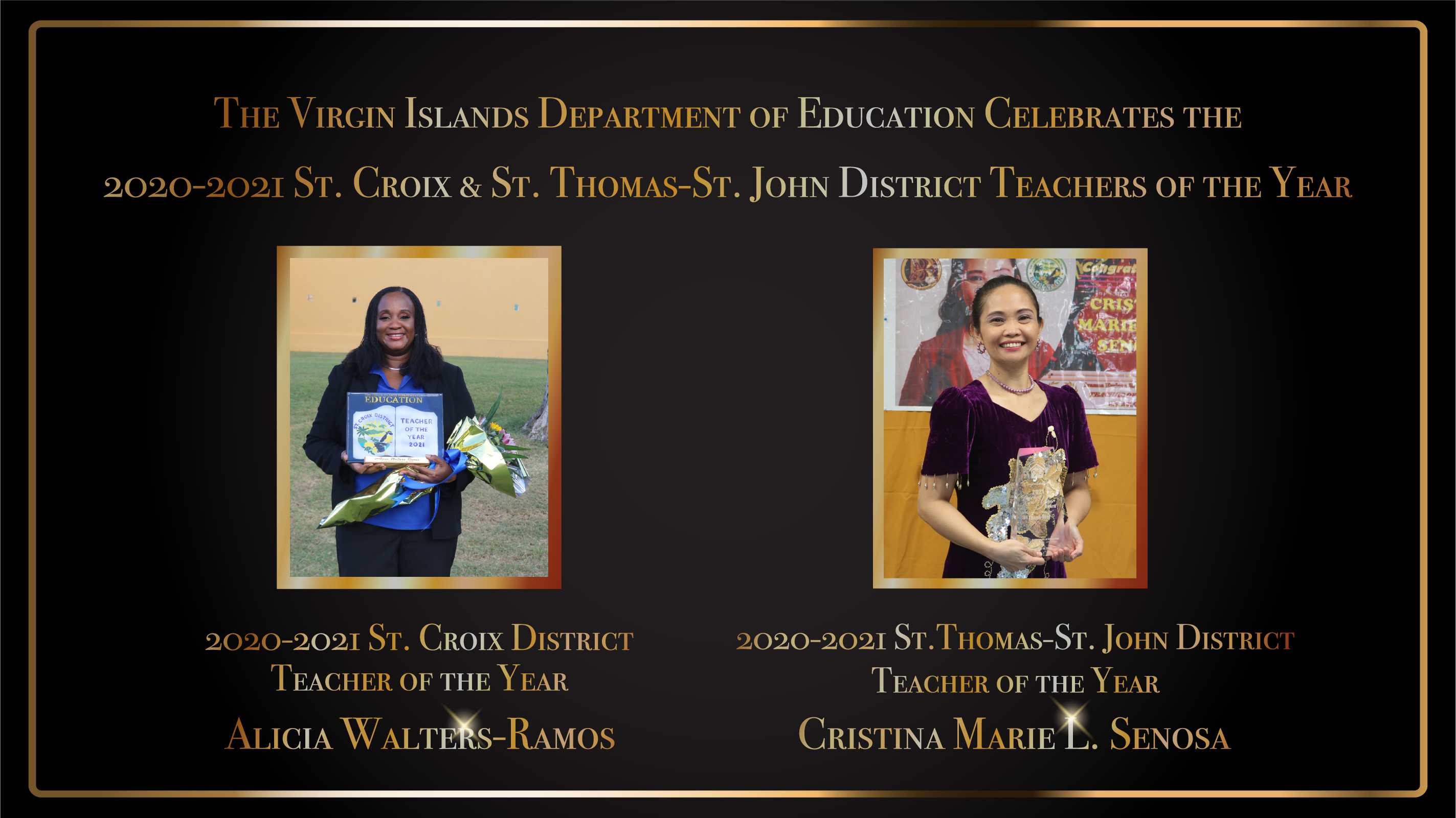 VIDE Celebrates the 2020-2021 St. Croix & St. Thomas-St. John District Teachers of the Year