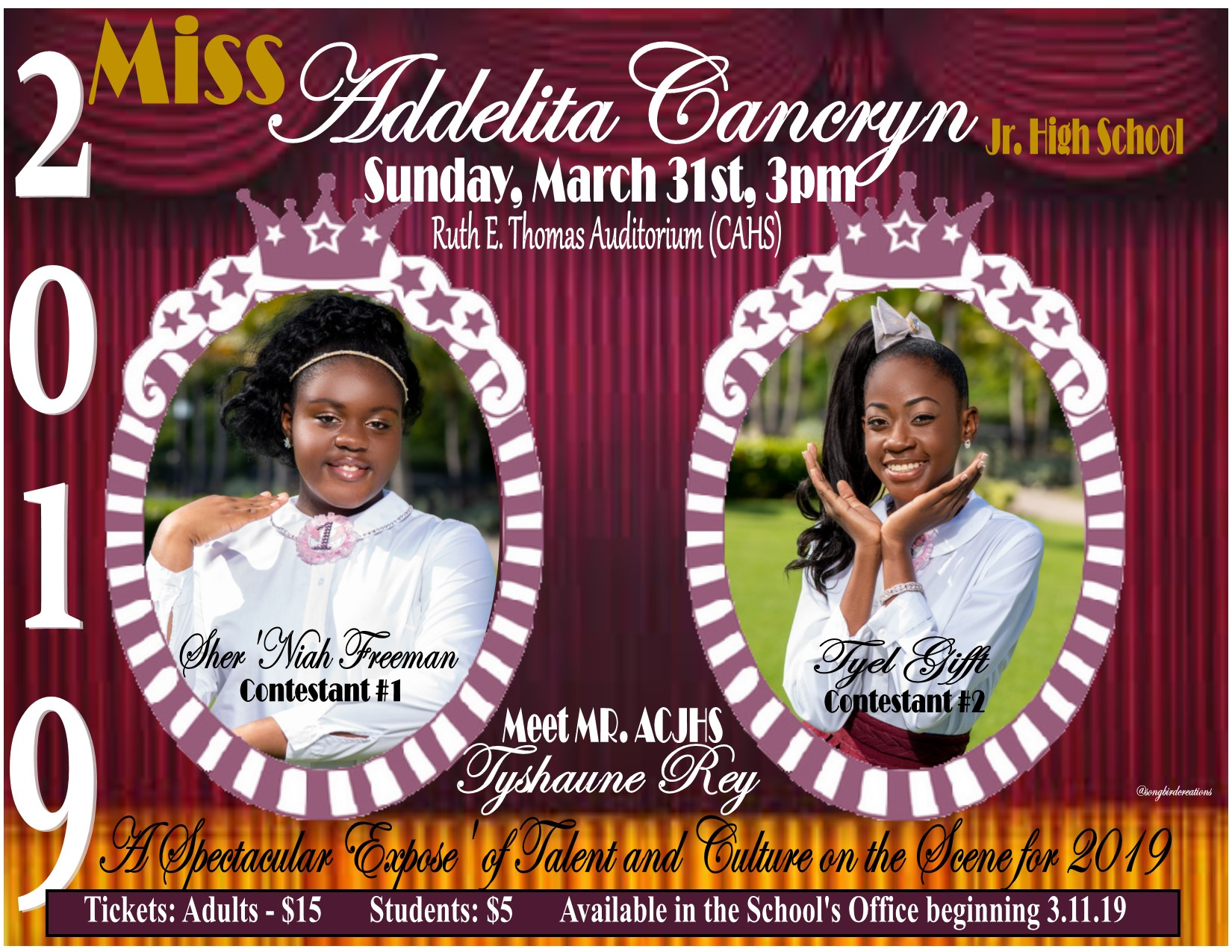 Miss Addelita Cancryn Pageant on March 31st